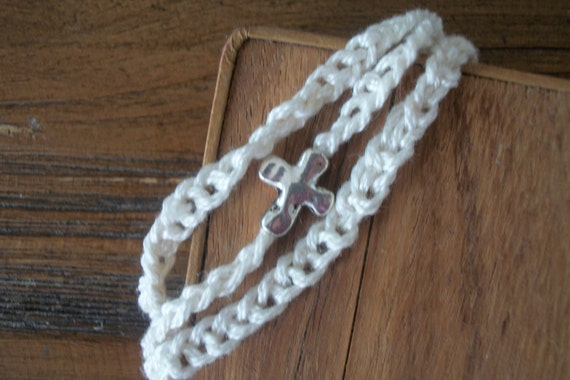 Crochet bracelet with metal cross.  Free shipping.  Charity donation made with every purchase.