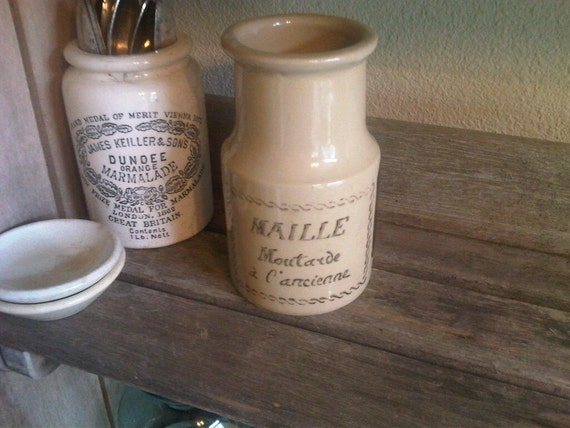 French Vintage Mustard Crock