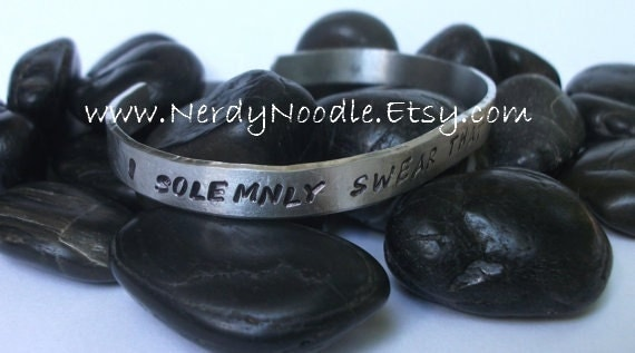 Harry Potter inspired hand stamped aluminum cuff / bracelet - I solemnly swear that I'm up to no good