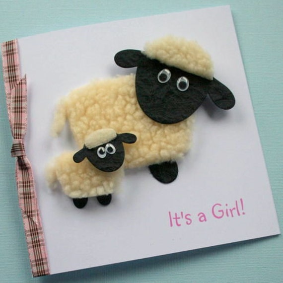 Sheep & Lamb / New Baby Girl Personalised Card