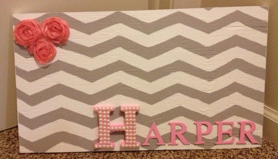 Grey & White Chevron With Pink Baby Name sign
