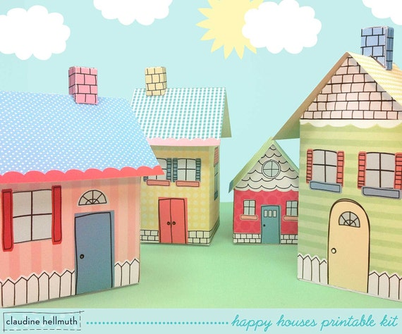 happy houses -  gift boxes, party favor boxes, centerpiece decoration printable PDF kit - INSTANT download