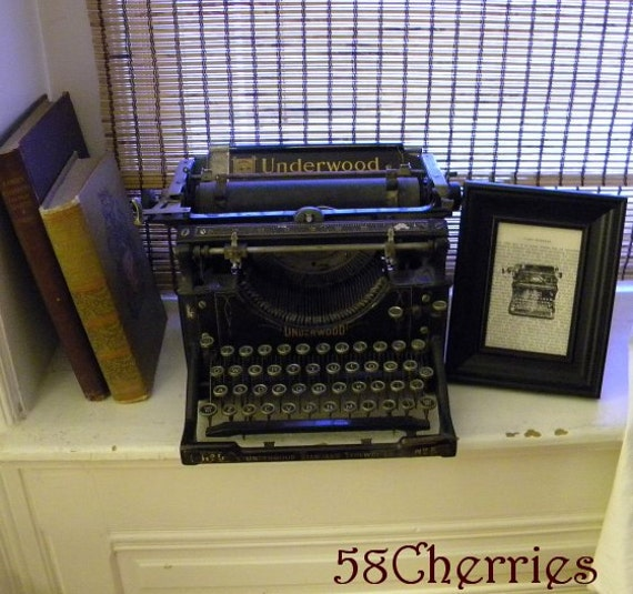 Framed Print of Antique Typewriter on Vintage French Book Paper - Steampunk Chic - Modern Art - Black and White