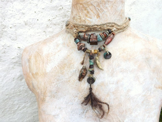 Artisan Necklace choker StonewareCeramic Braided Hemp Clay Handmade Beads Fireside Tribal Geology Amulet Talisman