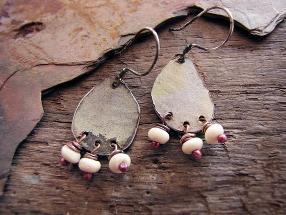Paladin - vintage tin earrings - eco friendly - reclaimed metal - salvaged beads - rustic romantic