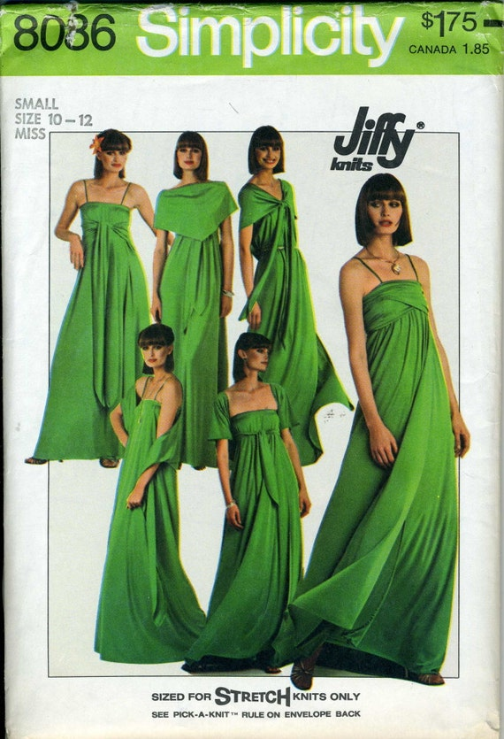 Vintage Simplicity 8086 CUT Misses Multi Wrap Empire Gown Sewing Pattern Size 10 - 12