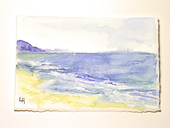 Watercolor Painting Illustration Landscape Ocean Coast