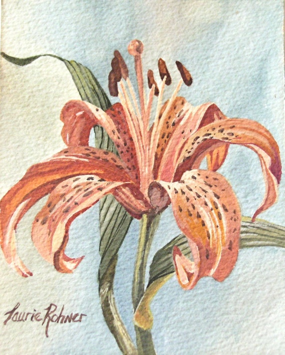 Watercolor Painting Botanical Garden Flower Original Artwork Orange Oriental Lily by Laurie Rohner