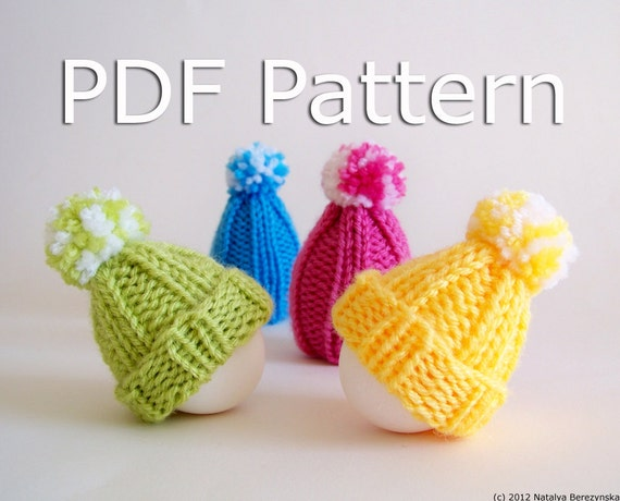 Easter Egg Cozy Pattern - Knitting Pattern - Easter Pattern - Amigurumi Pattern - Egg Hat Pattern - Pompom Hat Pattern