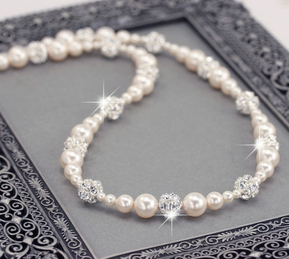 Pearl Wedding Jewelry, White or Ivory Pearl Necklace with Rhinestone Balls, Bridal Necklace, Vintage Style Bridal Jewelry