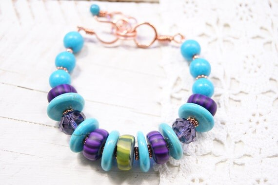 Turquoise Statement Modern Art Jewelry Bracelet-Sparkling Purple Crystal Olive and Purple Polymer Clay Gypsy Trade Beads