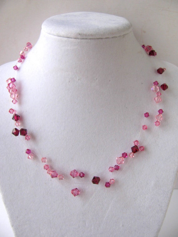 Pink Swarovski Floating Necklace and Earrings Free Shipping