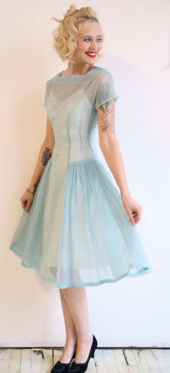 1950s dress // vintage 1950s dress // Swiss Dot Sheer Blue Dress
