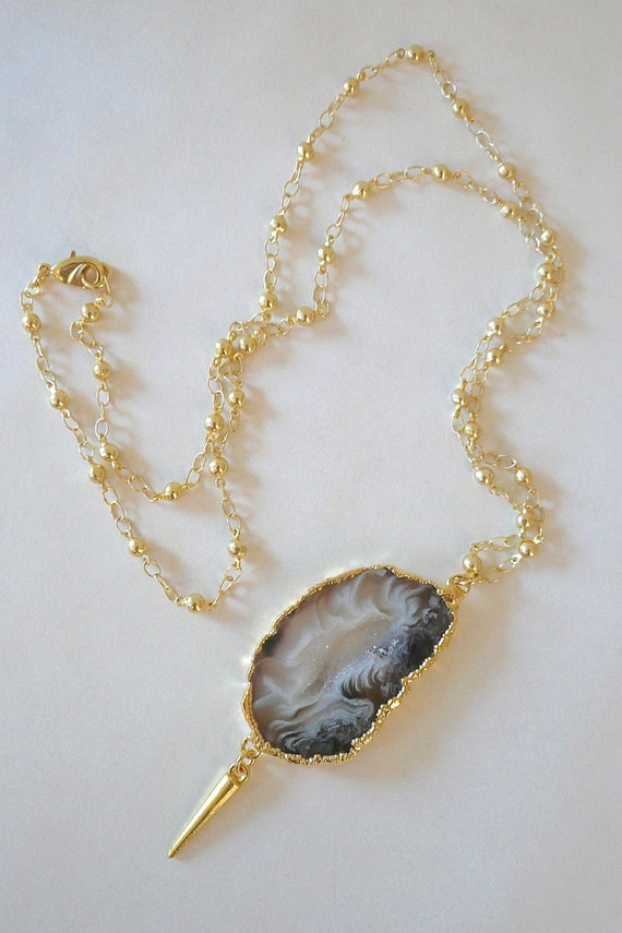 Gold Plated Druzy Agate & Spike Pendant