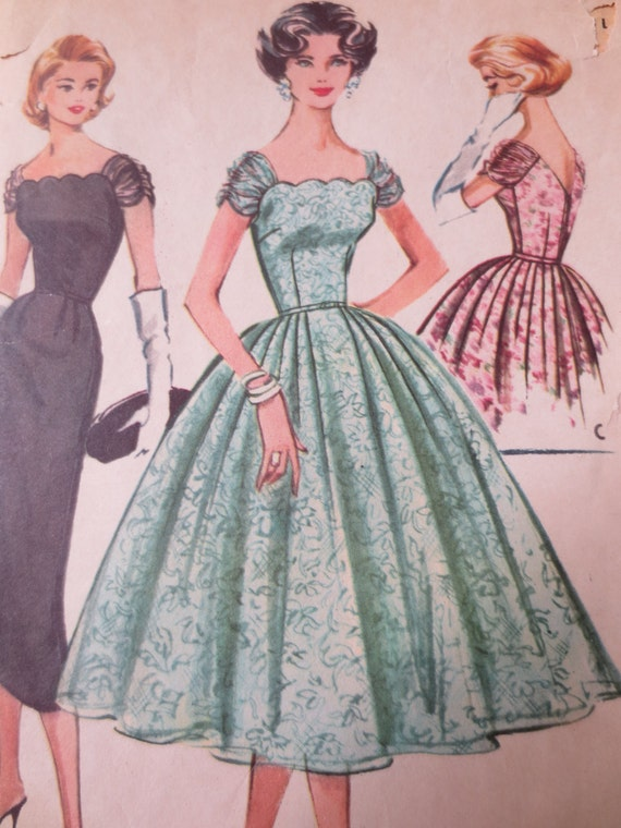 Vintage McCall's 4357 Sewing Pattern, 1950s Dress Pattern, Formal Dress Pattern, Bust 36 Inches, 1950s Prom Dress, Evening Dress