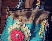 Burlap Sack Shabby Purse Tote Handbag - LittleDesertSparrow