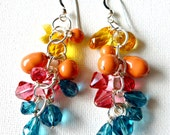 Nostalgic Summer Beachy Sunny Sweet Dangle Earrings Swarovski Crystal and Pearl - landandcjewelry