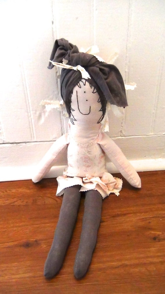 "Handmade Rag Doll In Shabby Chic Fabrics ""Not Too Shabby, Judy"" Handmade by GoHeyJudy"