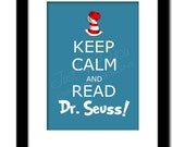 Keep Calm and Read Dr. Seuss - Cat in the Hat Inspired - YOU PRINT (Digital File) Wall Typography Art Print - 4UPrintableDesigns