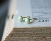 Tiny Opal Studs - 1.5mm, 3mm or 4mm: Honeydew - eleanorjoseph