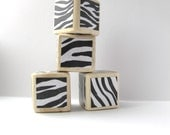 Wood baby Blocks. Baby Shower Decoration. Black and White. Zebra Print. Wild. Bold nursery decor. - MiaBooo