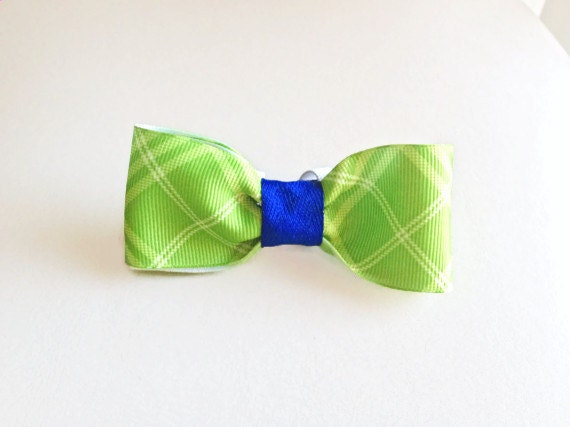 Green Plaid and Blue Pet Bowtie - for Dogs or Cats