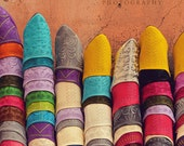 Travel Photography Morocco, Rainbow Art, Bright Colored Slippers, Travel Photo, Market, Fine Art Photography - Babouches