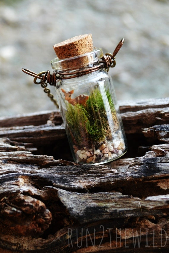 Forest Fawn Bottled Terrarium Necklace