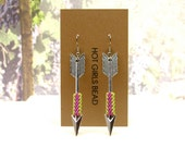 Handmade Metallic Pink and Green Angel Arrow Peyote Earrings, Jewelry Gift