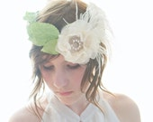 Roaring 20s, Flapper crown green leaf and feather, flower crown, paper leaves Halo, green and cream hair crown