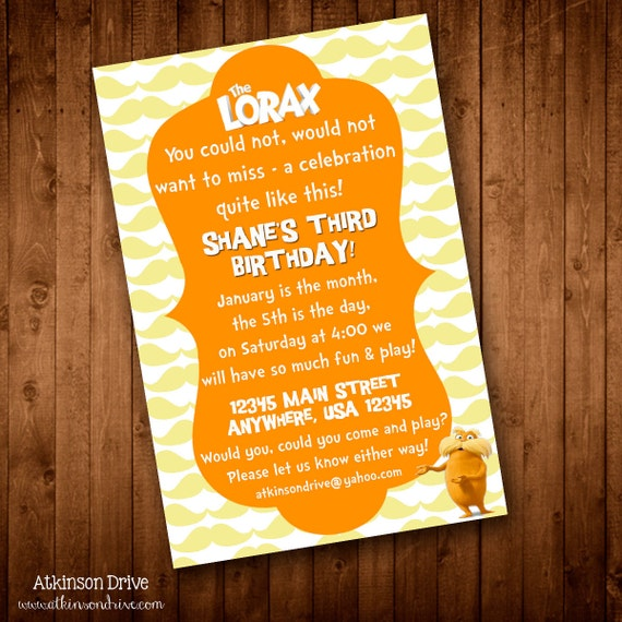 Printable Lorax Birthday Party Invitation