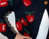 Vintage Navy Wool Cherry Print Sweater