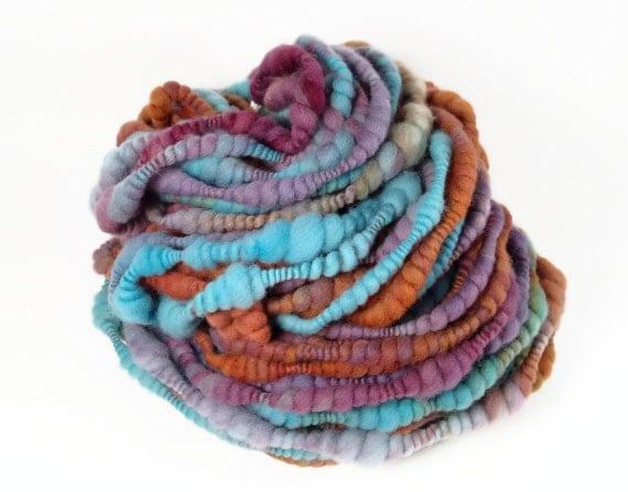 Tahitian Sunset Hand Dyed Handspun Coiled Art Yarn 33 yards 4.8 oz