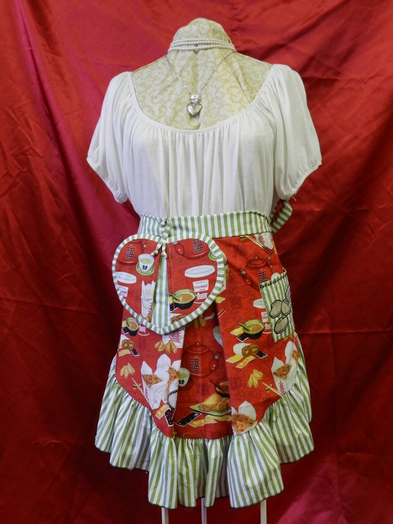 "Half Apron and Pot Holder Set, Ruffled Half Apron, ""Take Out"", One Size Fits Most"