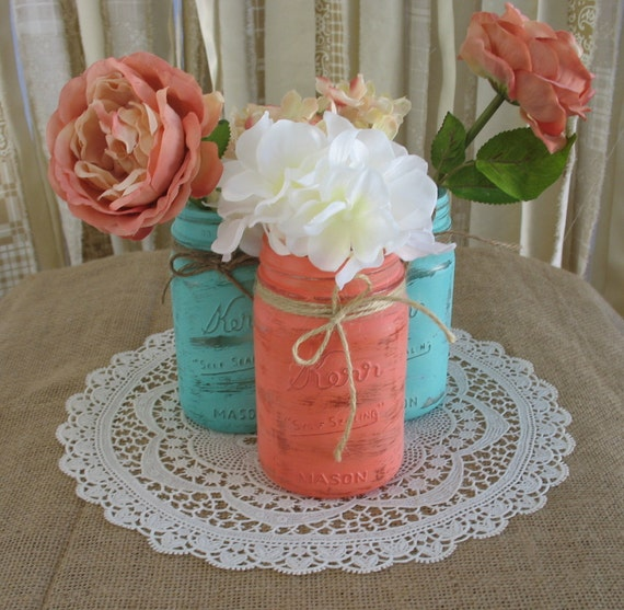 Mason Jars, Ball jars, Painted Mason Jars, Flower Vases, Rustic Wedding Centerpieces, turquoise and coral mason jars