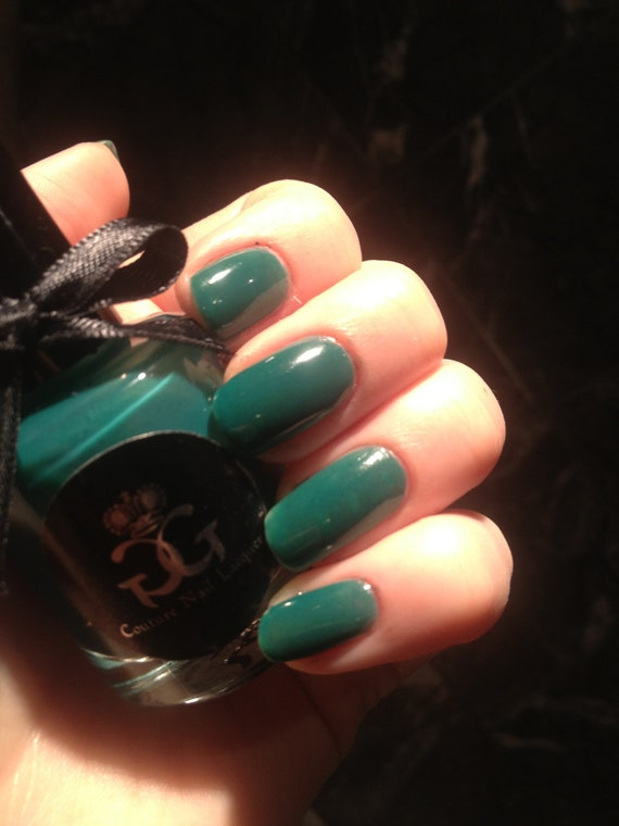 I Am Yours - Emerald Teal Nail Polish - Full Size - Hand Made