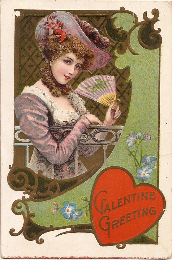 Valentine Greeting Card with elegant lady