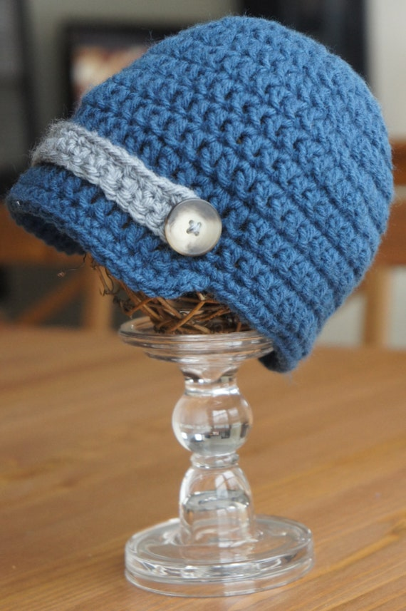 Blue and Gray Crochet Newsboy Hat