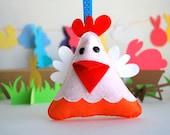 EASTER Hen Chicken Orament , Eco-Friendly felt Hen Chicken plush Ornament A571, Easter basket decor