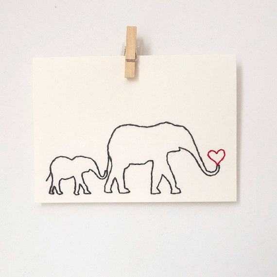 Mother's Day card, embroidered elephant mom and baby, mom's birthday