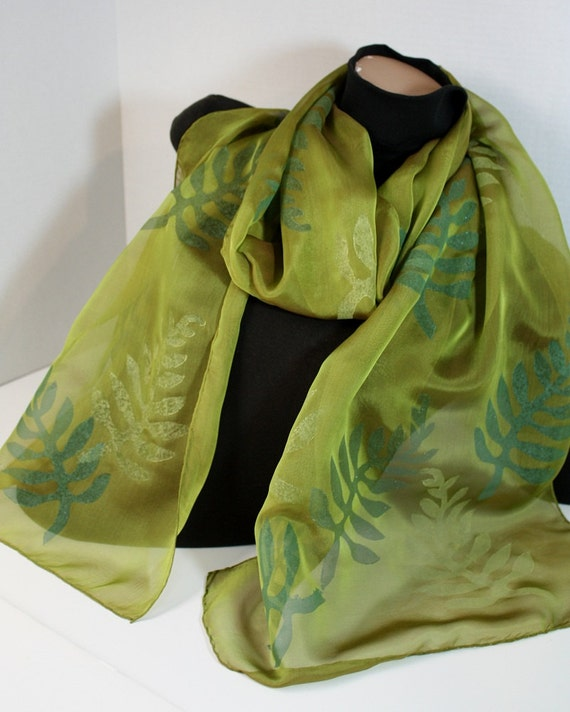 Silk Chiffon Scarf Chartreuse Green with Fern Fronds in Pine, Teal & Pale Chartreuse Iridescent Long Lightweight Hand Block Printed