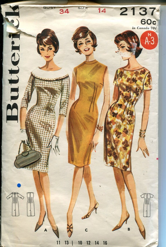 60s Fitted Sheath Wiggle Dress Sewing Pattern Large Round Collar 34 Bust Size 14 Butterick 2137