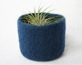navy night blue summer wool felted small bowl in solid color
