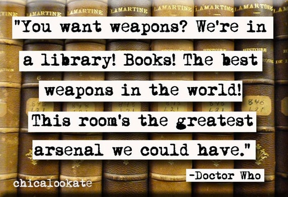 Doctor Who Library Quote Magnet or Pocket Mirror (no.364)