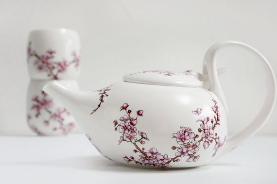 Hand Painted Ceramic Tea Set -  Cherry Blossoms Collection