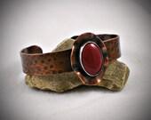 Hammered Red Jade Copper Cuff