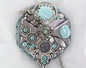 Hand Mirror - Recycled Aqua in Bloom - Repurposed Jewelry - M000860 - MarilyndaGallery