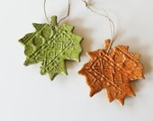 Hanging Clay Leaves - Set of 2 - Great for Autumn Decor Cottage Chic or Tree Ornaments - MissPottery