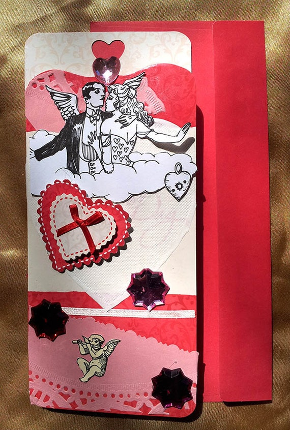 Dame Darcy hand crafted Floating on a cloud of love valentine card