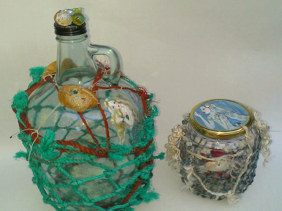 Dame Darcy, Nautical, Mermaid, hand painted, eco-friendly, Ship, sailing , hanging candle jar  moonshine, recycled